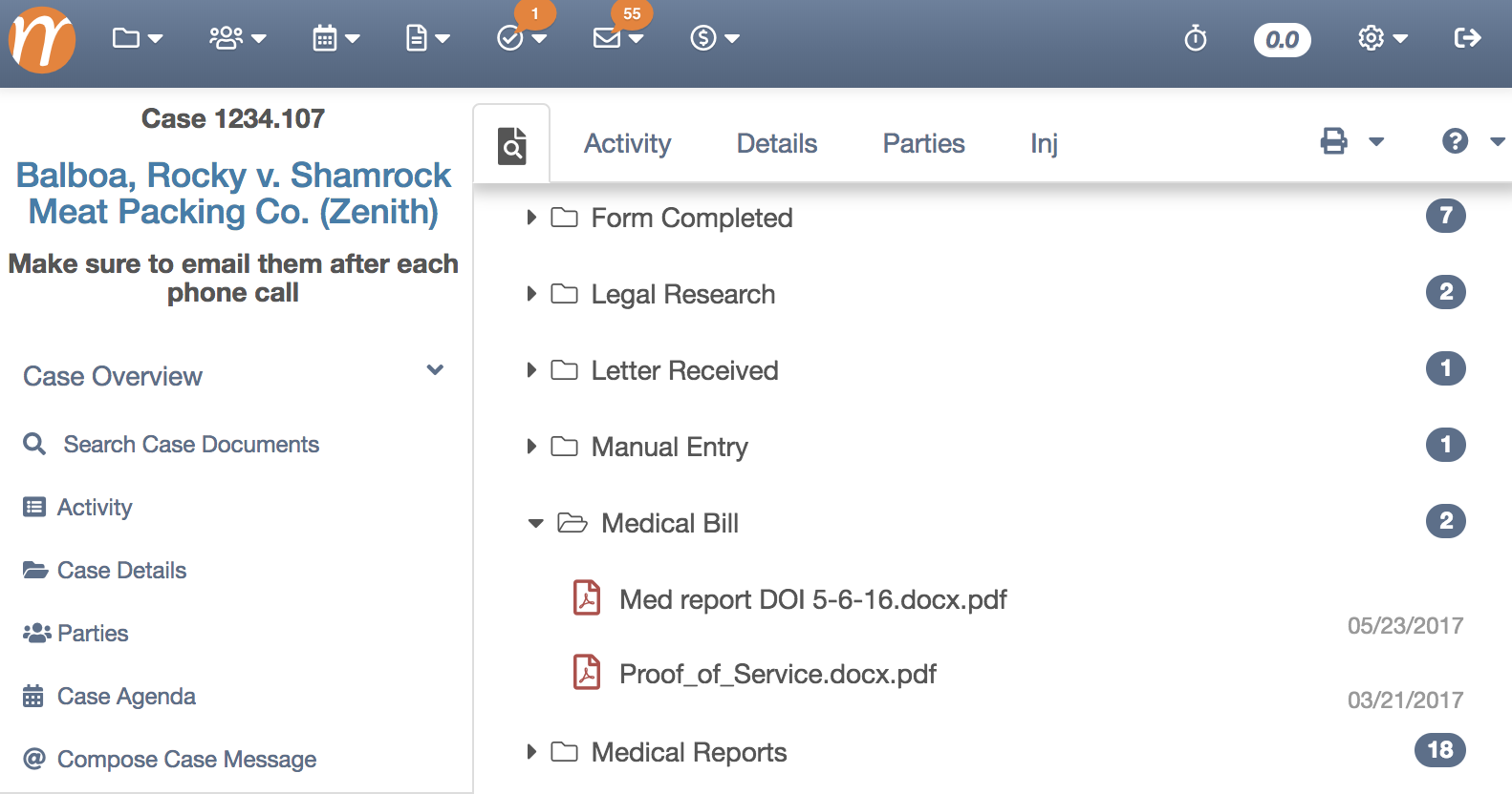 Document Folder View - Search Case Documents
