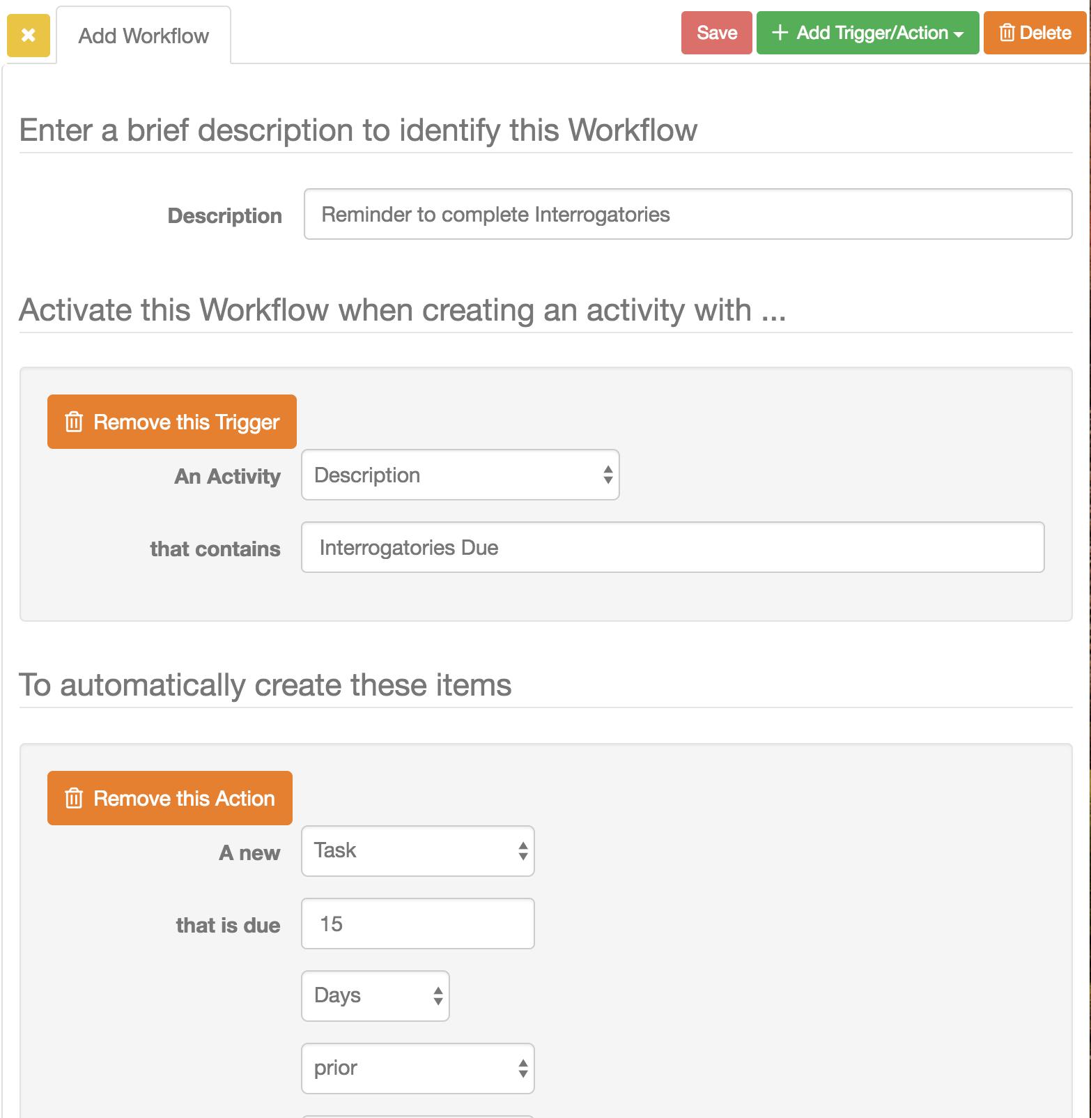 Add Workflow Screen